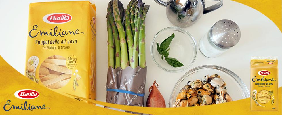 Pappardelle cremose asparagi e cozze